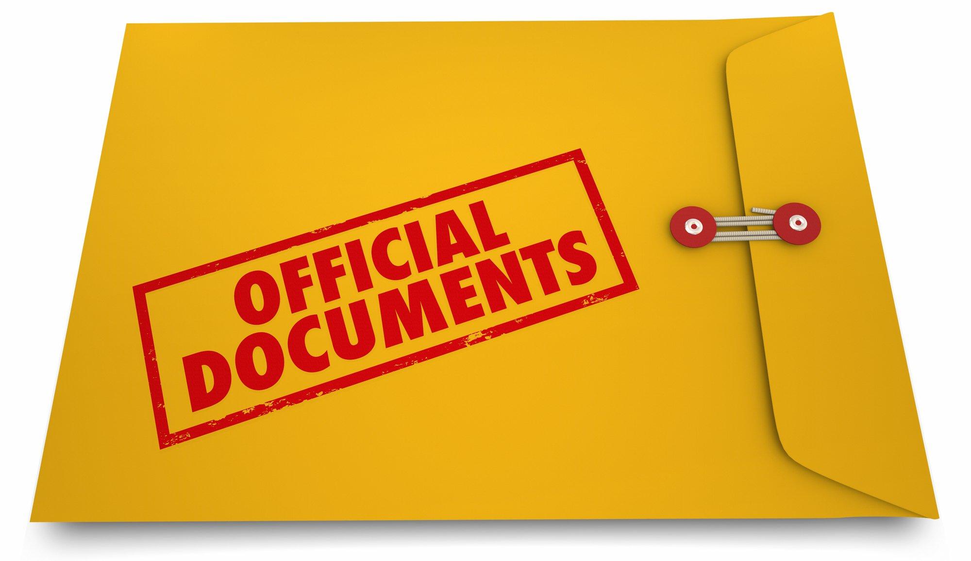 Yellow stamped Envelope